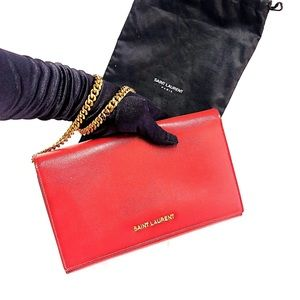 Authentic Saint Laurent Red Clutch with Chain